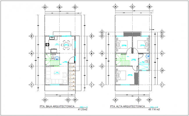 Floor plan of bungalows with architectural view dwg file