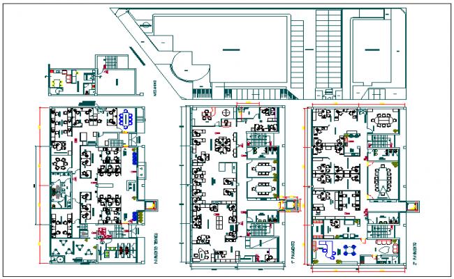 Floor plan of corporate building dwg file