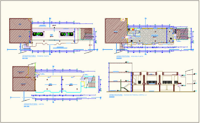 Floor plan of education center with sectional elevation view dwg file