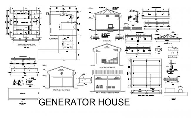 Floor plan of generator house 8.10mtr x 7.04mtr with elevation and section in dwg file