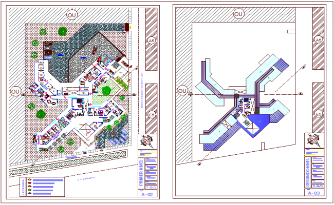 Floor plan of health center with architectural view dwg file