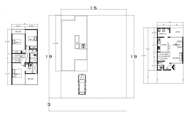 Floor plan of house 15mtr  x 19mtr with detail dimension in AutoCAD