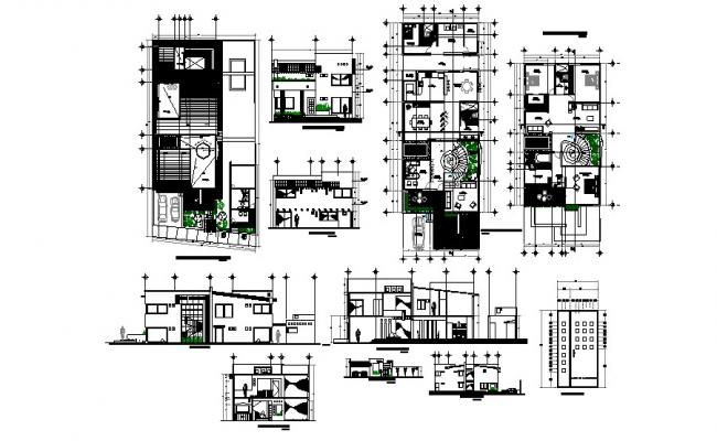 Floor plan of house 20.00mtr x 35.55mtr with elevation and section in dwg file