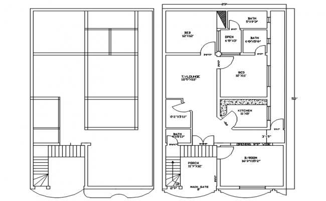 Floor plan of house 29' x 52' with detail dimension in dwg file