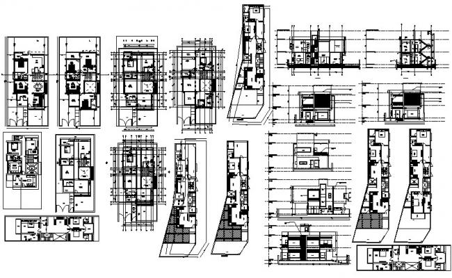 Floor plan of house 30'6'' x 50'6'' with elevation and section in dwg file