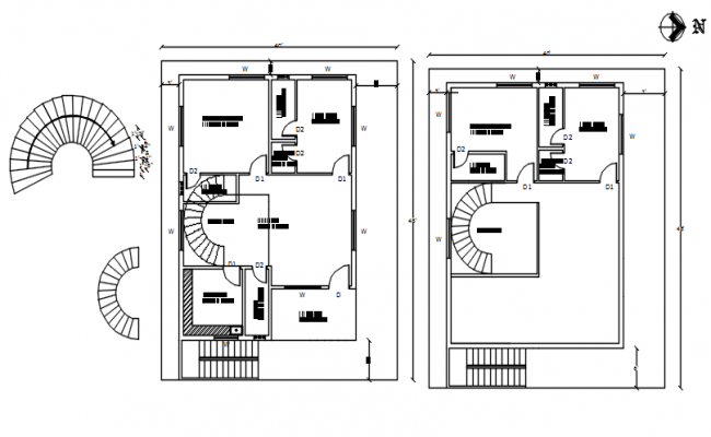 Floor plan of house 40' x 48' with detail dimension in AutoCAD