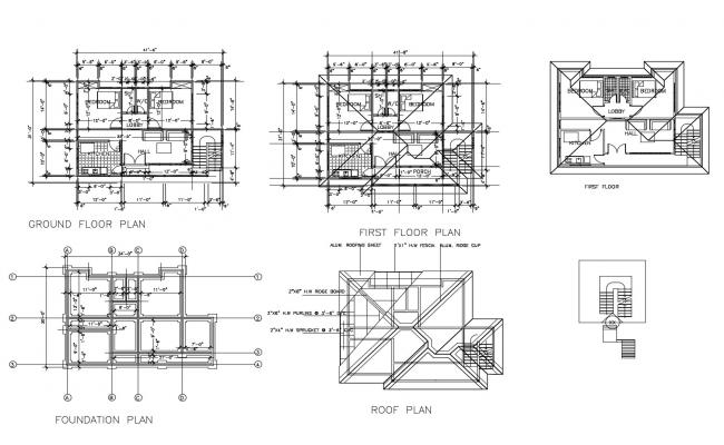 Floor plan of house 41'6'' x 31'0'' with detail dimension in dwg file