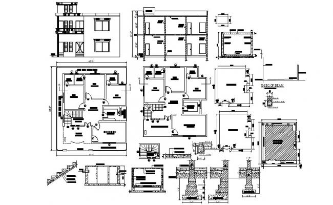Floor plan of house 43'0'' x 50'0'' with Foundation and elevation details in dwg file