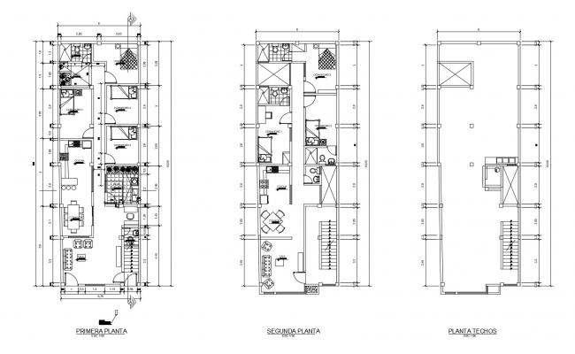 Floor plan of house 6.00mtr x 18.00mtr with detail dimension in dwg file