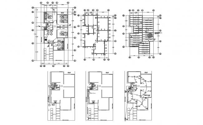 Floor plan of house 7.00mtr x 17.00mtr with detail dimension in dwg file