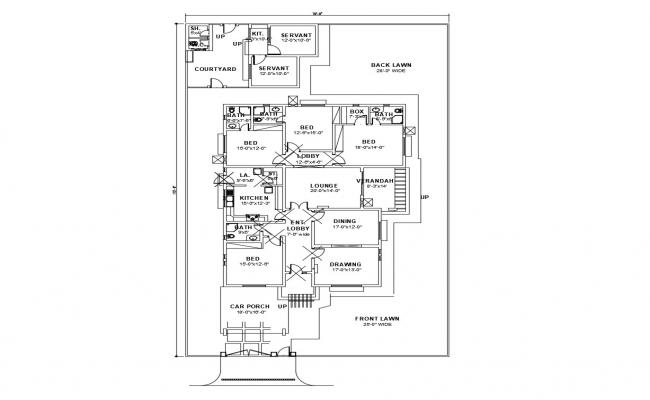 Floor plan of house 70' x 115' with furniture detail in AutoCAD