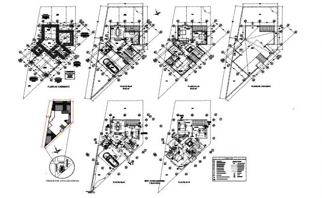 Floor plan of house with architecture view dwg file