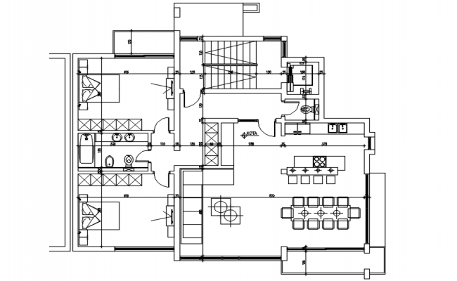 Floor plan of house with detail dimension in dwg file