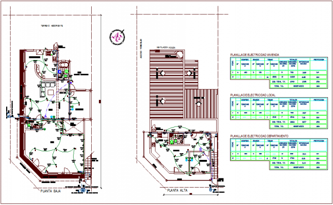 Floor plan of house with electrical installation view with its legend dwg file