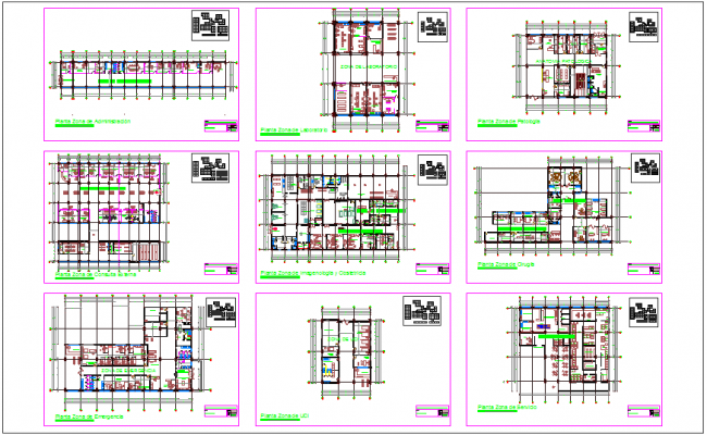 Floor plan of invective clinic with architectural view dwg file