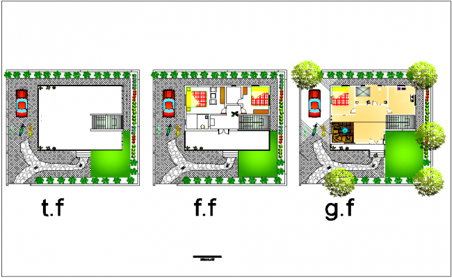 Floor plan of landscape view of bungalows dwg file
