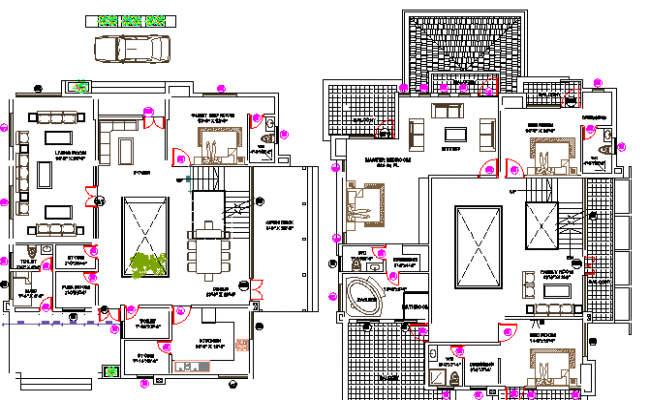 Floor plan of multi-family residential bungalow dwg file