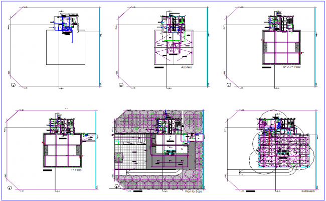Floor plan of office building dwg file