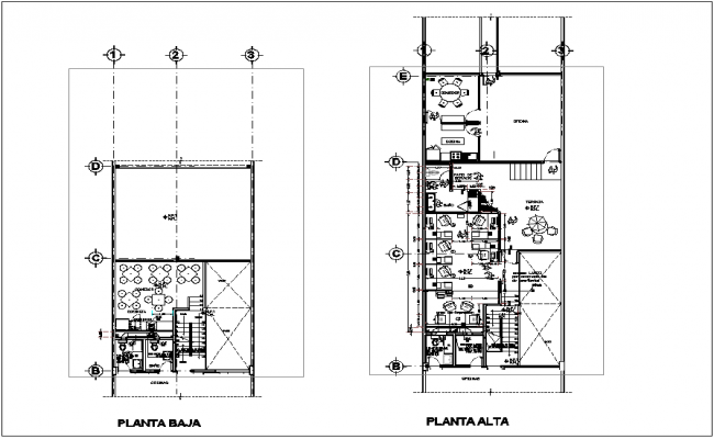 Floor plan of office with modification view dwg file