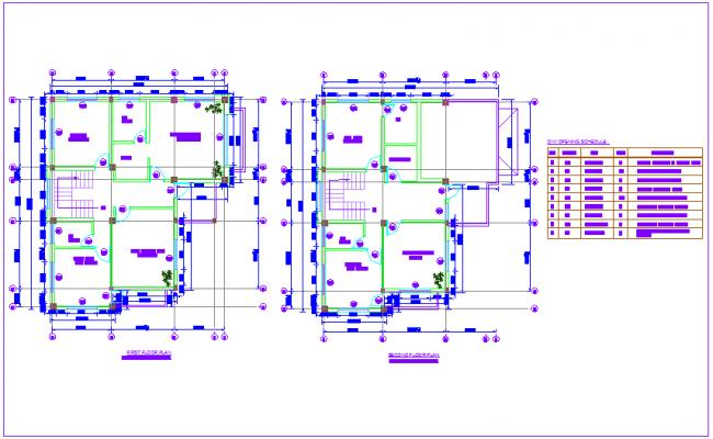 Floor plan of residence house with door and window schedule dwg file