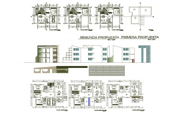 Floor plan of residential apartment 12mtr x 10mtr with elevation and section in AutoCAD