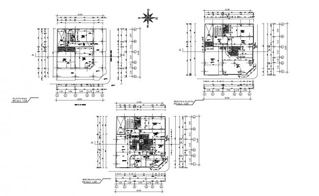 Floor plan of residential building with detail dimension in AutoCAD