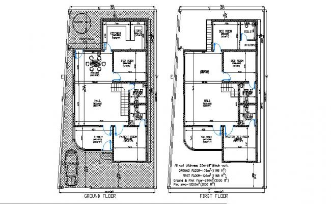 Floor plan of residential house 32' x 60'  with detail dimension in AutoCAD