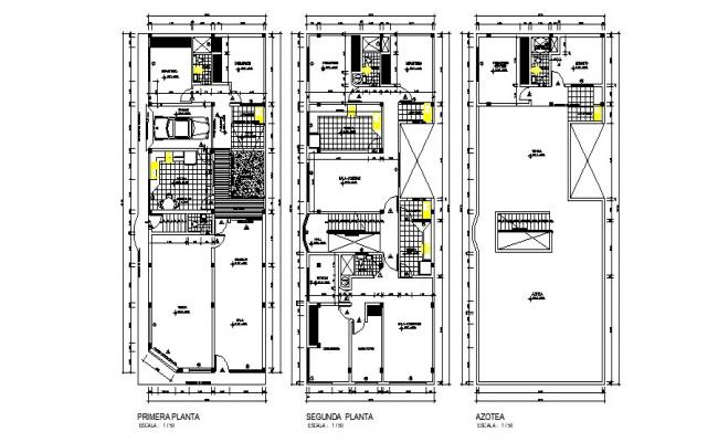 Floor plan of residential house 8.00mtr x 20.00mtr with detail dimension in dwg file