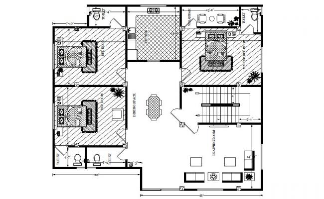 Floor plan of residential house design with furniture details in dwg file