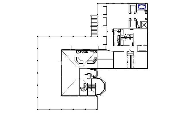 Floor plan of residential house with detail dimension in AutoCAD