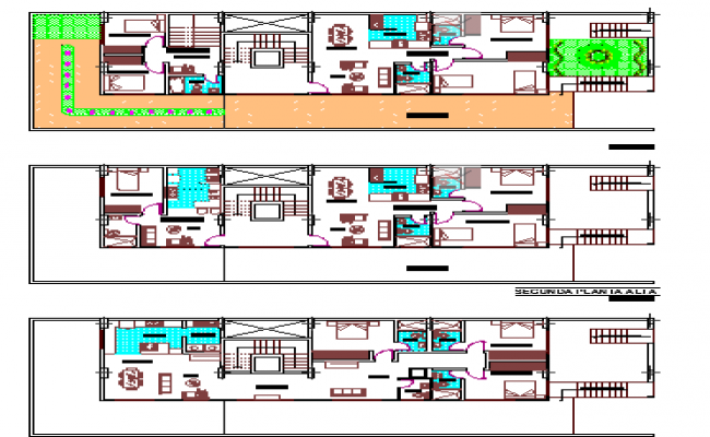 Floor plan of residential housing plan dwg file