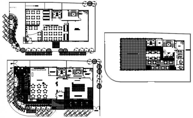 Floor plan of restaurant with interior design in dwg file