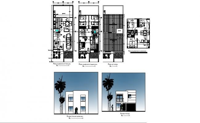 Floor plan of single-family house 6mtr x 13mtr with elevation in dwg file