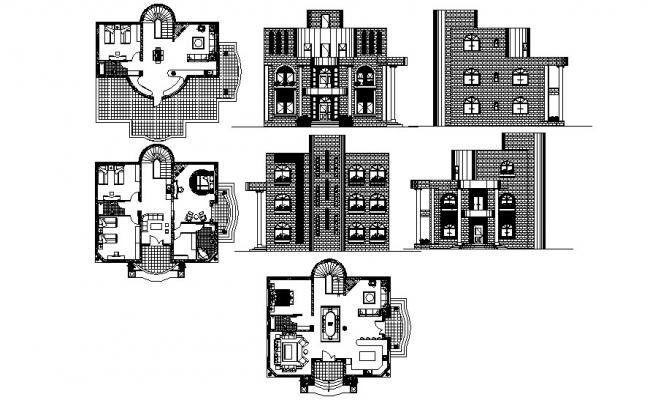 Floor plan of the bungalow with elevation in dwg file