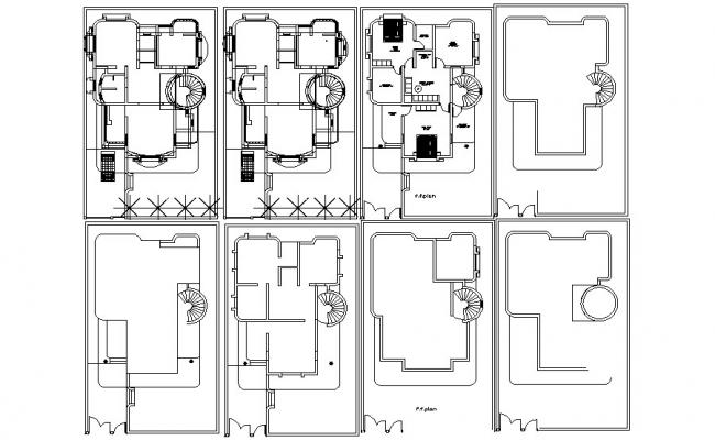 Floor plan of the bungalow with furniture details in AutoCAD