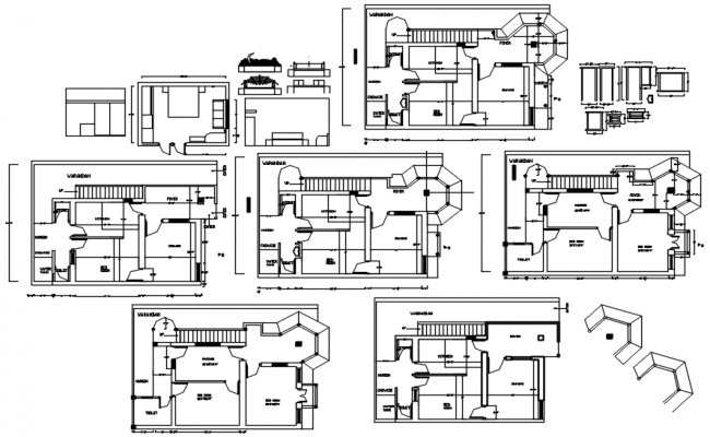 Floor plan of the bungalow with furniture details in dwg file