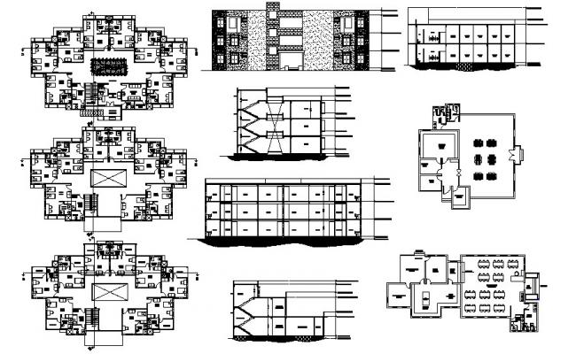 Floor plan of the guest house with elevation and section in AutoCAD