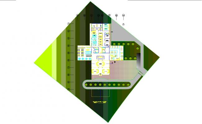 Floor plan of the hotel building with detail dimension in dwg file