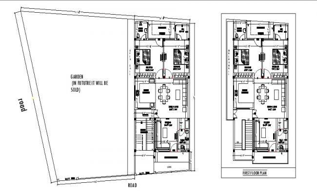 Floor plan of the house with detail dimension in AutoCAD file