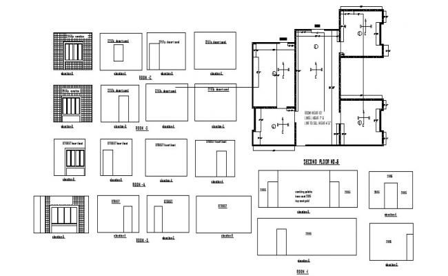 Floor plan of the house with detail dimension in dwg file