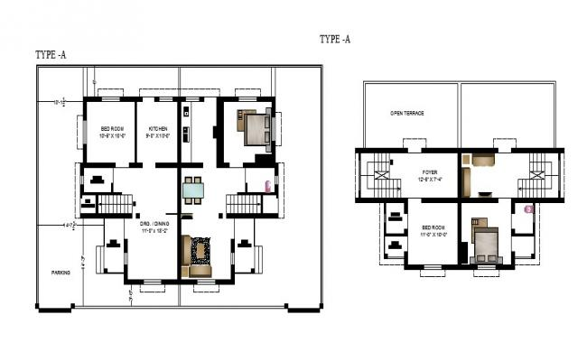 Floor plan of the house with furniture detail in dwg file