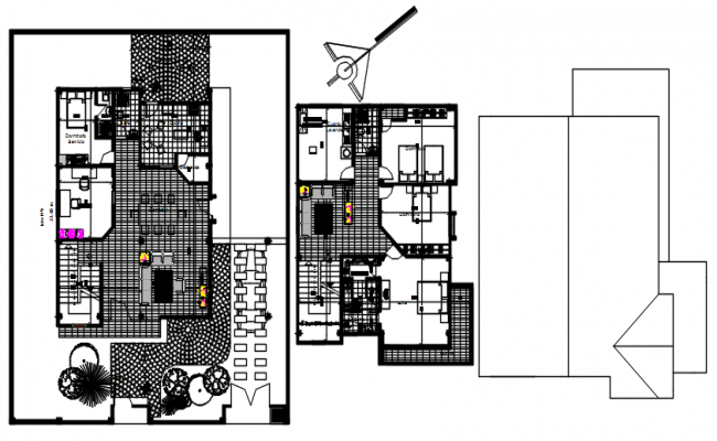 Floor plan of the house with furniture details in dwg file