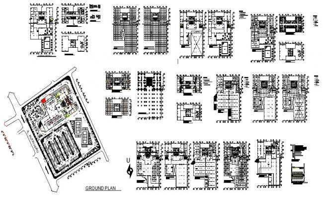 Floor plan of the multistorey hotel building with furniture detail in AutoCAD