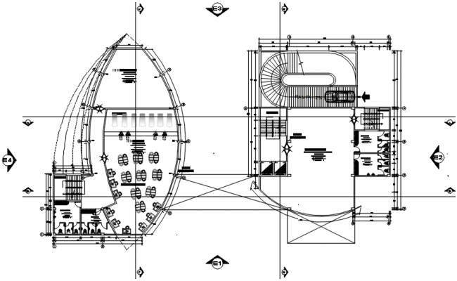 Floor plan of the office building with detail dimension in AutoCAD