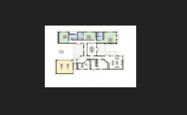 Floor plan of the residential house in dwg file
