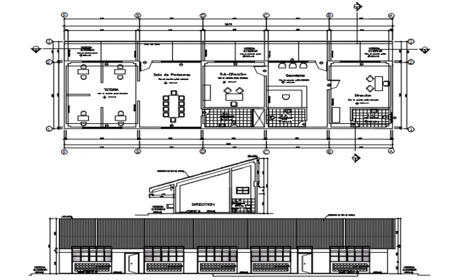 Floor plan of the school building with elevation details in dwg file