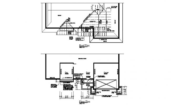 Floor plan of the single family house with detail dimension in dwg file