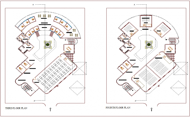Floor plan of third and fourth floor plan for architectural school dwg file