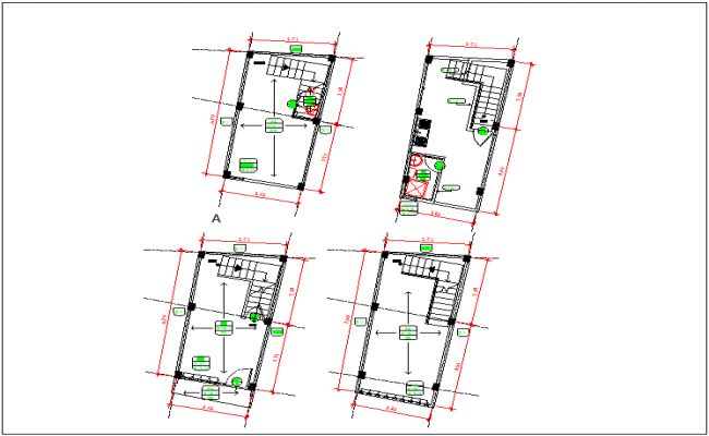 Floor plan view and roof floor plan view detail dwg file