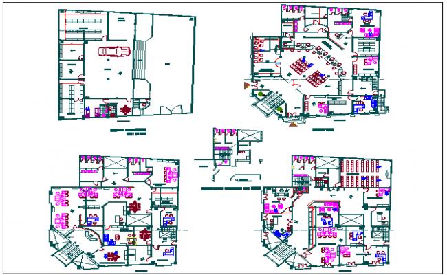 Floor plan view of corporate building dwg file